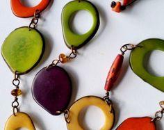 Linen Necklace Tagua Nut Necklace Asymmetric Necklace by ReTeTeer
