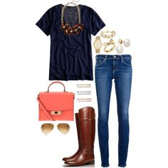 navy and coral, created by the-southern-prep on Polyvore