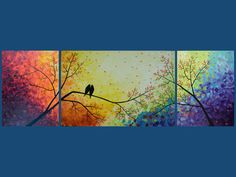 "72"" Original Modern Texture Impasto Painting Landscape Love Birds Tree Wall Decor ""Over the Rainbow"" by QIQIGALLERY. $650.00, via Etsy."