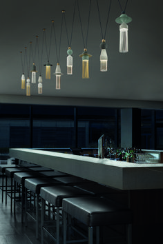 This fantastic modern Italian lighting composition is inspired by the silk tassels you will see everywhere on a trip to Venice - in the baroque palaces, in the gondolas which ply their trade up and down the canals, at Bevilaqua, the famous luxury fabric store near St Marks Square, and in the Fortuny shop, with its wonderful array of traditional Venetian damasks and silks.