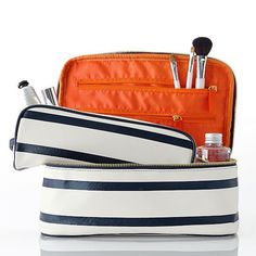 Mark and Graham, Audrey Striped Cosmetic Case with removable small case, $100