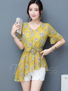 Asymmetric Flower Print Belt Women's Blouse - m.tbdress.com