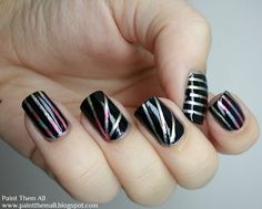 Paint Them All: 31DC2013 - Day 9: Rainbow Nails (Striping manicure)