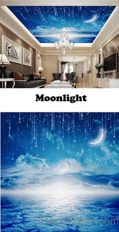 3D Moonlight Clouds Starry Night Ceiling Wall Mural Wall Paper Decal Wall  Art Print Deco Kids