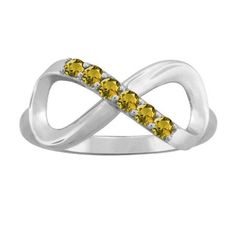 10K White Gold Round-Cut 6-Stone Infinity Mothers Ring (Size 10,Golden Topaz), Women's, Yellow