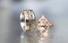 His and hers matching wedding ring set with rose gold and morganite detailing. His with a vintage steampunk watch movements inlay. Engagement Ring Images, Alternative Engagement Rings, Engagement Wedding Ring Sets, His And Her Wedding Rings, His And Hers Rings, Rose Gold Ring Set, Gold Diamond Band, Steampunk Rings, Steampunk Watch