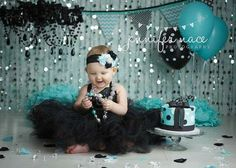 Baby in black tutu with Tiffany blue decorations