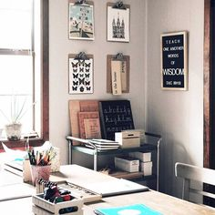 Love this creative homeschool space, and especially that letter board with a timely reminder.