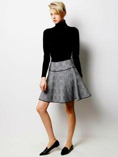 Silk Wool Turtleneck and Glecheck Skirt / LE CIEL BLEU