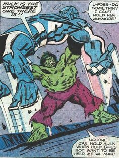 Hulk hefts Ironclad over his head for a 'finisher' as he tackles the UFoes. Marvel Comics Art, Marvel Comic Books, Marvel Characters, Comic Books Art, Comic Art, Hulk Avengers, Marvel Heroes, Marvel Avengers, Graphic Novels