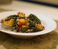 vegan Kale and Kabocha Quinoa with Lemony Garlic Tahini Dressing from ...