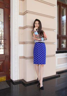 Doina C of 'The Golden Diamonds' in a Marni H skirt & geometric top.