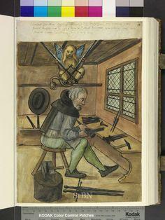 El espadero Niclas (Nicolaus; Nikolaus) (siglo XV -  1523.05.04) Landauersche  Zwölfbrüderhausstiftung Stadtbibliothek Nürnberg Amb. 279.2° Folio 14 recto (Landauer I)