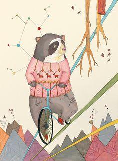 Bear in bicycle  by Belén Segarra