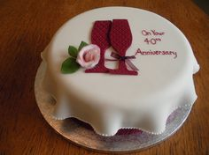 Ruby Wedding Anniversary cake - For all your Ruby Anniversary cake decorating supplies, please visit http://www.craftcompany.co.uk/occasions/anniversary/ruby-wedding-anniversary.html