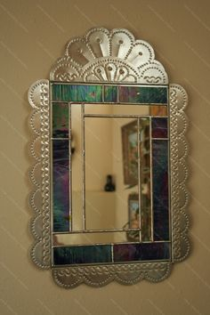 Tin and Stained Glass Mirror - Robert Montano - New Mexico Creates - Stunning Art Work by New Mexico Artists