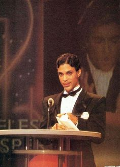 "Classic Prince | 1986 Parade era rocking the UTCM (Under The Cherry Moon) ""Movie Star"" look at the 1986 American Music Awards! (Color)"
