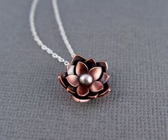 Copper Lotus Blossom Drop - Chinese New Year, Rebirth, Lotus Flower, Gifts For her, Valentine gifts.