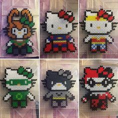 Superhero Hello Kitty perler beads by phoenixgirlcreations