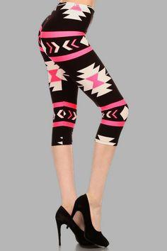 *NEW* Navaho Stretch Capri Leggings (Neon Pink)