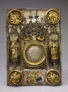 Anonymous:  Angels, Saints and the Four Evangelists   Book-cover ca. 1506 (The Book of the Gospels)   Silver-gilt 28.9 x 20.7 cm   The British Museum   London, UK   Inv. nr. WB.88