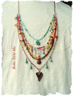 Boho Colorful Modern Hippie Necklace Layered Gypsy Necklace