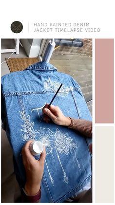 Painted Denim Jacket, Painted Jeans, Painted Clothes, Customised Denim Jacket, Hand Painted, Diy Fashion, Ideias Fashion, Denim Jacket Embroidery, Denim Art