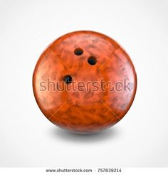 Orange bowling ball isolated on white background. 3D rendering.