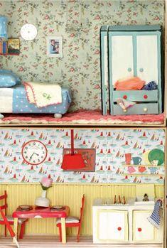 Heart Handmade UK: Cath Kidston Design A Shoebox Room Competition Cardboard Dollhouse, Diy Dollhouse, Victorian Dollhouse, Modern Dollhouse, Doll Furniture, Dollhouse Furniture, Cath Kidston Shoes, Little Houses, Shoe Box