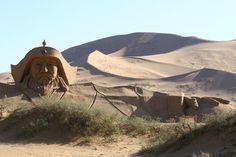 A statue of Genghis Khan in the Badain Jaran Desert. Inner Mongolia