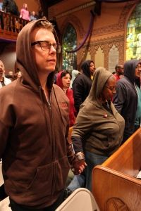 Hundreds of Middle Collegiate Church parishioners attended service today wearing Hoodies for Trayvon #justice