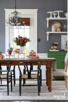 Modern Fall Dining Room // Fall Home Tour 2016 | inspiredbycharm.com