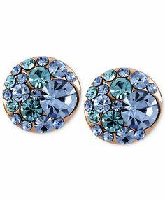 Betsey Johnson Earrings, Rose Gold-Tone Blue Crystal Stud Earrings-macys