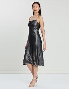 Mirror Mirror Bias Slip Dress Dresses Online Australia, Buy Dresses Online, Metallic Dress, Thighs, Chiffon, Glamour, Women, Fashion, Moda