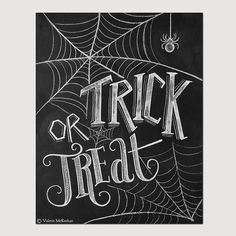 Trick Or Treat Sign - Halloween Chalkboard Art - Halloween Decor -Black and White Halloween -Halloween Art - 8x10 Print
