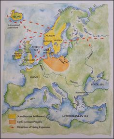 Map of Viking expansion The German-speaking peoples, made up of many tribes, originally populated that part of Europe enclosed by the rivers Rhine, Danube, and Vistula. During and after the decline and collapse of the Roman Empire (c. AD200 - 600) they spread out in several directions, occupying areas as far south as northern Italy. (Saga of the Norsemen: Viking and German Myth; Loren Auerbach & Jacqueline Simpson; London 1997, pg 9)