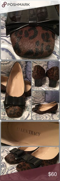 Ellen Tracy Pumps Stunning Ellen Tracy pumps in rich animal print, made of authentic cow hair, accented with black patent leather bows and heels. Size 8B, true to size in pristine condition. This is a classic, timeless pump with a modern twist. The squared, two inch heel will keep you balanced. No box available-- I do not keep shoeboxes as my shoes are displayed so I can see them 😊 No holds trades or offline transactions. Ellen Tracy Shoes Heels