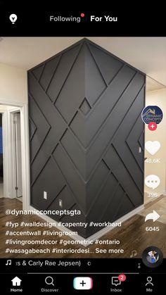 Home Room Design, Home Interior Design, Interior Decorating, House Design, Wall Molding, Moldings, Accent Wall Designs, Diy Home Decor, Room Decor