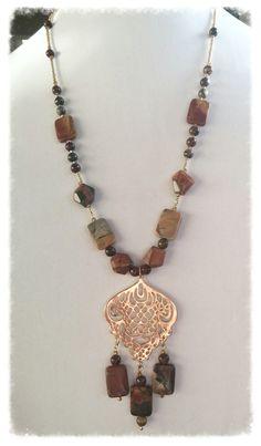 Natural Autumn Picasso Jasper Boho Jewelry Set by GemsbyJoniH