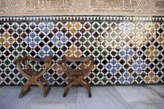 Chairs in the Patio de Comares Palacios Nazaries, Alhambra Palace Granada.