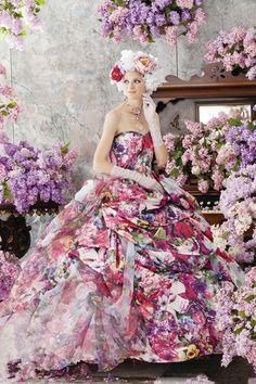 2014 nieuwe ontwerp elegante luxe prinses gedrukte patroon bloemen appliques trouwjurk/bruidsjurk in van op Aliexpress.com