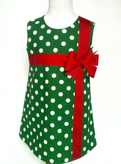 Christmas Dress Toddler Christmas Dress Girls Christmas Dress Green and White Polka Dot with Red Ribbon Sizes 12 mo. - 8 by 8th Day Studio by 8thDayStudio for $35.00