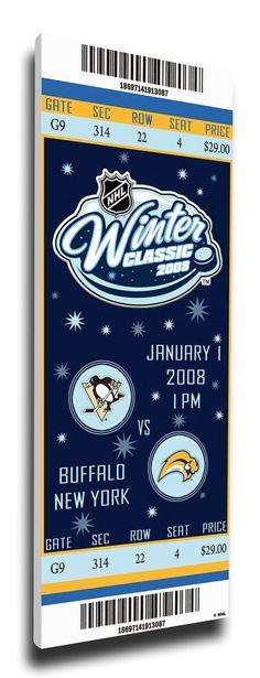 ac2e28bf1 2008 NHL Winter Classic Commemorative Canvas Mega Ticket - Penguins vs  Sabres