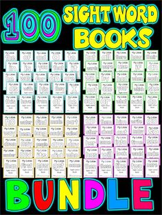 SAVE $5.00 WITH THIS BUNDLE PACK OF 100 SIGHT WORD BOOKS This package offers ALL MY INDIVIDUALLY LISTED 4 SETS OF SIGHT WORD BOOKS. Each book is ONE PAGE that when folded creates a 4 page interactive sight word book . The books cover words 1-100 on fry's list. Simply fold horizontally and vertically and staple together.   THESE ARE MONEY SAVING BOOKS THAT ARE DESIGNED LIKE A WORKSHEET- EVERY BOOK IS ONLY ONE PAGE.   Every book follows this structure:  page 1- cover page page 2- Trace and…