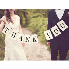 THANK YOU Letter Wedding Card Banner Sign Married Photo Prop Party Decoration