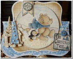 overall cute and beautiful cad with a myriad of details...looks to be a large label with teddy and penguin image on top & rising above a folded half card...