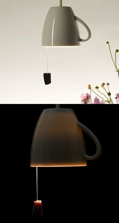 upside down tea cup as a light, love it!