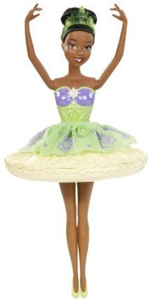 Disney Princess Water Ballet Tiana Doll by Mattel. $17.99. Collect all your favorite Disney Princess Water Ballet dolls. Twist of the bow and let them twirl through the water and dance around the tub. Girls will have lots of fun in the tub with this Water Ballet Princess. Features Tiana doll dressed in a beautiful ballet bodice. Its dance fun and bath fun all in one. From the Manufacturer                Disney Princess Water Ballet Doll Collection: Its dance fun and bath ...