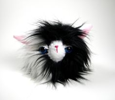 Plush Monster Woodland Animal Stuffed Animal Plush Toy Monster Kawaii B&W Black and White Plushie Snuggly Faux Fur Toy Small 3 inches Fluffy by TheJaeBird on Etsy