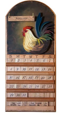 Amish-made Rooster Perpetual Calendar
